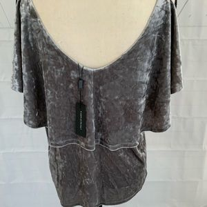 Grey crushed velvet blouse